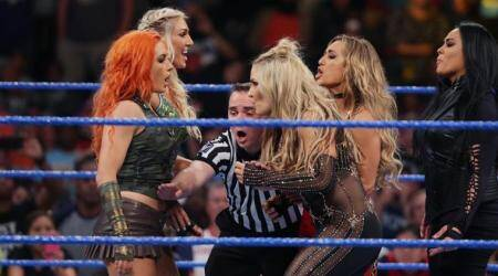 "The first-ever women's Money in the Bank ladder match was announced on Tuesday by Shane McMahon, blue brand's commissioner. The night saw Kevin Owens talking about the upcoming pay-per-view. He said that he will he will be ""the face and champion of the entire WWE"" before welcoming Shinsuke Nakamura, who got a lot of heat from the US camp. In the Sami Zayn and Shinsuke Nakamura fight against Baron Corbin and Kevin Owens, Owens got the better of Zayn, taking him down in the corner. However, an inside fight between Corbin and Owens ended up giving the winning glory to Zayn and Nakamura. The match among Tamina, Natalya, Charlotte Flair, Carmella, Becky Lynch did not begin as all five women fight each other with chaos in the ring. McMahon announced later that all these women will fight in the women's Money in the Bank ladder match. Breezango wins the match against the Colons while Dolph Ziggler wins vs AJ Styles via pinfall after he aimed at Styles' eyes to escape the Calf Crusher. The Fashion Police earned the victory when Breeze, dressed as Janitor Carl, hit Primo to get his team back into the winner's circle. Randy Orton also made an appearance for the first time on Smackdown Live, ensuring revenge against Jinder Mahal and regaining the WWE Championship in their rematch at WWE Money in the Bank."
