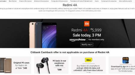 Xiaomi, Redmi 4A, Xiaomi Redmi 4A sale, Amazon, Amazon Prime, Xiaomi Redmi 4A price. Xiaomi Redmi 4A features, Xiaomi Redmi 4A specifications, smartphones, technology, technology news