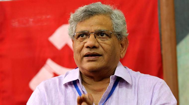 sitaram yechury, yechury press conference, yechury heckled, yechury video, CPM press conference, sitaram yechury heckled, sitaram yechury manhandled