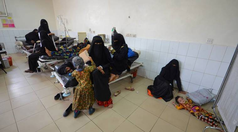 yemen, yemen cholera cases, who, who cholera report, who yemen health report, yemen famine, world health organisation, world news, middle east news, indian express