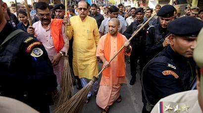 UP CM Yogi Aditynath wields broom for cleaner state