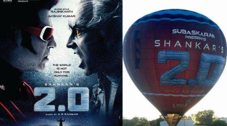 Rajinikanth image, Akshay Kumar image, 2.0 hot air balloon