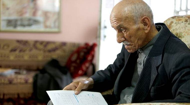 Palestinian old man, old man give exam, high school exam, Indian express news, India news