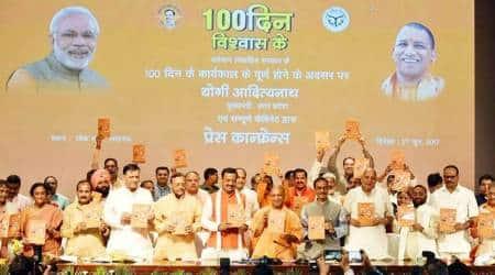 Yogi unveils booklet on achievements; promises development