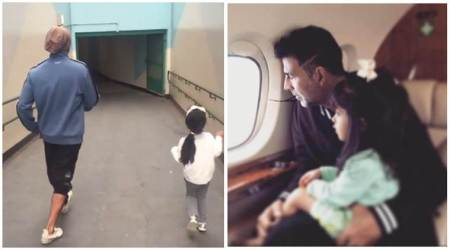 Akshay Kumar, daughter Nitara have a spring in their step as they dance together. Watch their video
