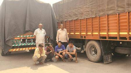 Police: 4,200 cartons of country liquor seized from four trucks inAmbala