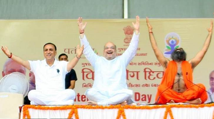 yoga day, baba ramdev, amit shah, amit shah yoga, international yoga day, ramdev amit shah, india news