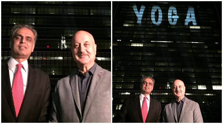 Image result for United Nations prepares for International Day of Yoga, actor Anupam Kher illuminated the UN headquarter building in New York