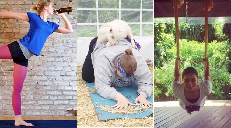 international yoga day, yoga asanas, bizarre yoga trends, bizarre yoga types, goat yogam beer yoga, doga dog yoga, cannabis yoga, ganjasana, karaoke yoga, anti-gravity yoga, indian express, indian express news