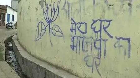 BJP workers paint houses in Bhopal with 'mera ghar, bhajpa ka ghar' graffiti