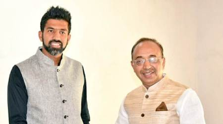 Vijay Goel meets French Open mixed doubles winner Rohan Bopanna to discuss promotion of tennis