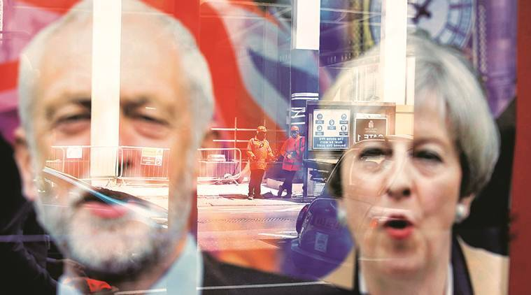 British PM Theresa May and Jeremy Corbyn, old adversaries, gingerly weigh an odd couple partnership