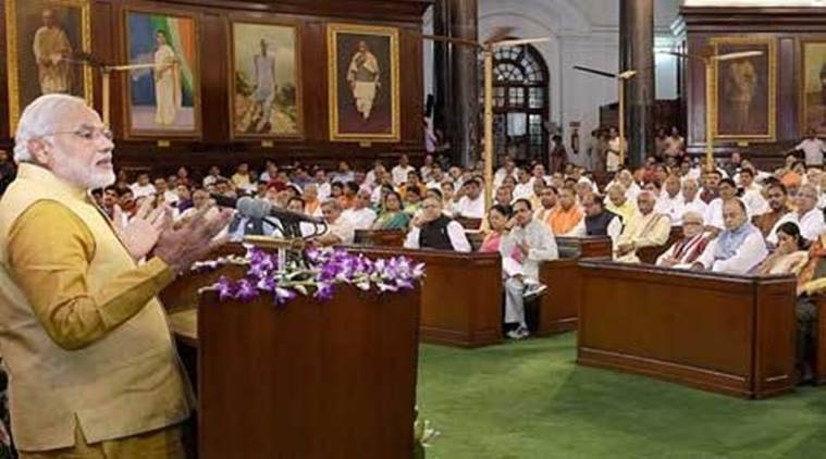 gst launch, gst rollout, pm modi speech, parliament, midnight session, central hall, indian express