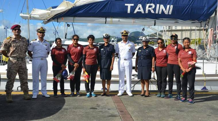 Sailboat tarini, all women crew sailboat, INSV Tarini, all women crew, Tarini Mauritius, Indian express, India news, latest news
