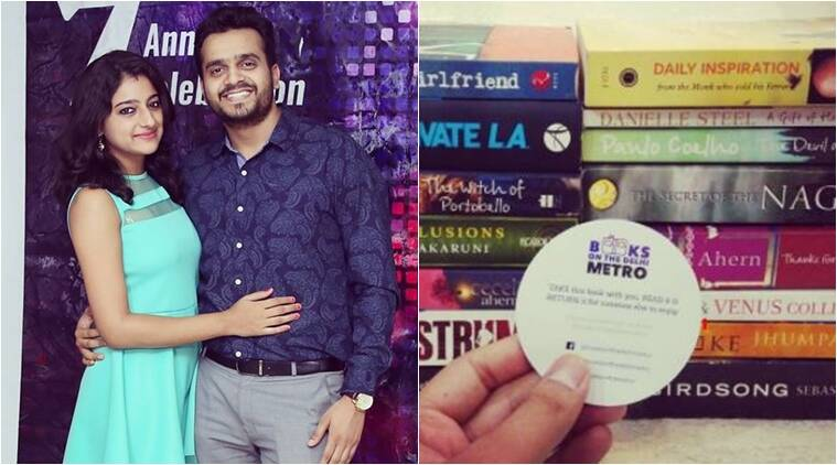 couple leaving books in delhi metro, books on the delhi metro, books being hidden in delhi metro, couples hiding books in delhi metro, indian express, indian express news