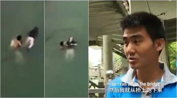 china, china river, delivery boy save woman, delivery guy jump in river to save woman, viral videos, social good, trending news, china news, indian express