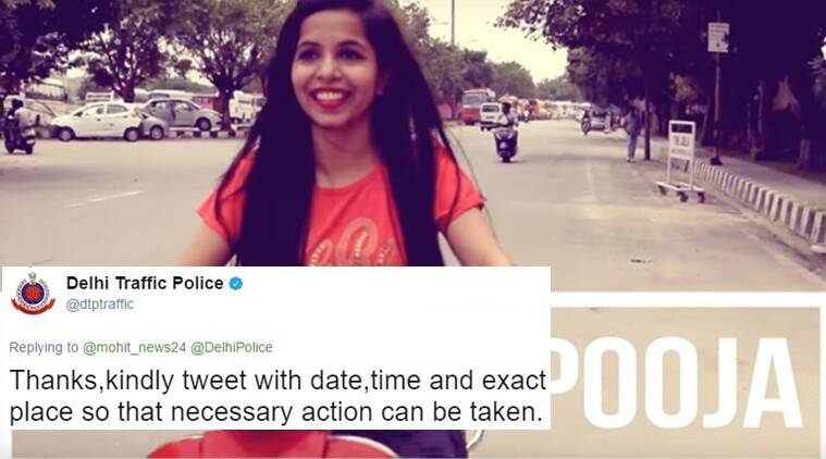 dhinchak pooja, delhi police,  dilon ka shooter, dhinchak pooja dilon ka shooter, dhinchak pooja delhi traffic police tweets, dhinchak pooja delhi police tweets, delhi police dhinchak pooja without helmet, indian express, indian express news