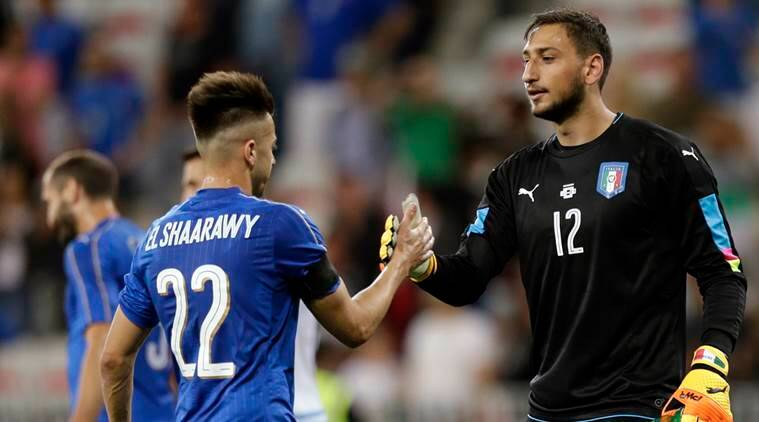 Gianluigi Donnarumma, donnarumma, ac milan, milan, italy, denmark, u-21 european championship, football, sports news, indian express