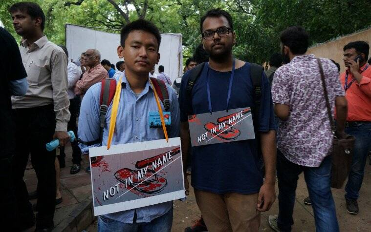 not in my name delhi, protest, students