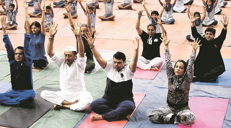 international yoga day 2017, farmer suicides, children who farmer who committed suicide, devendra fadnavis, maharashtra news, indian express
