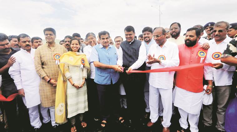 Mumbai Goa highway, Mumbai goa highway bridge, bridge inauguration, devendra fadnavis, Nitin Gadkari, India news, indian express news