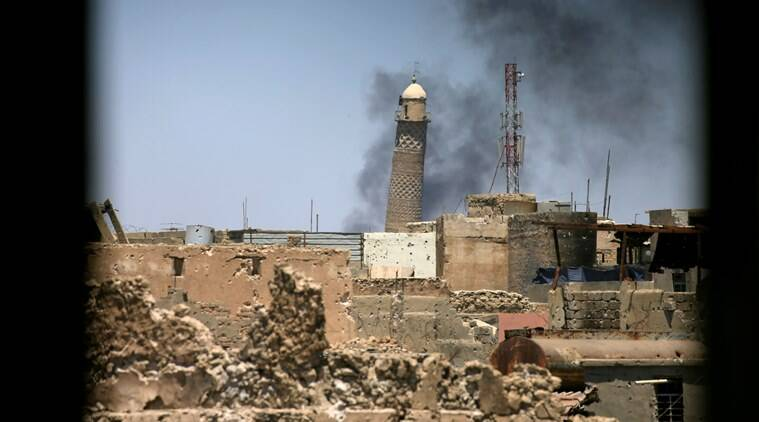 Mosul mosque, Mosul mosque demolitio, islamic state, US islamic state, IS demoition, ISIS, indian express news, world news