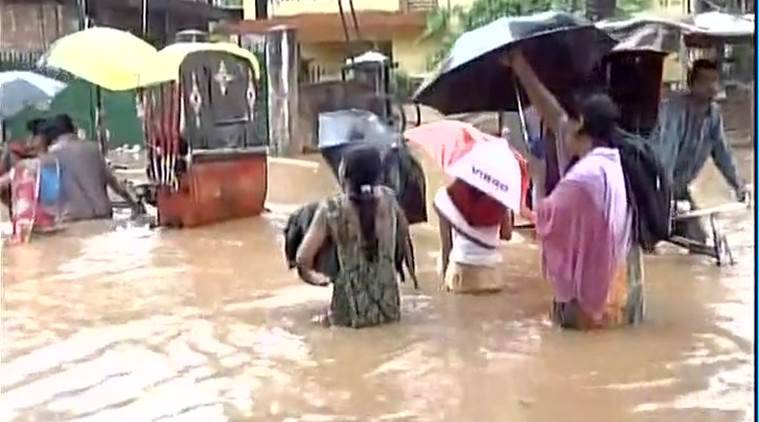 assam floods, waterlogging in guwahati, india news, indian express news
