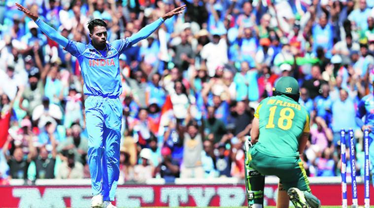 champions trophy, india vs south africa, india vs sa, AB de Villiers, MS Dhoni, Hardik Pandya, indian express, sports news, cricket