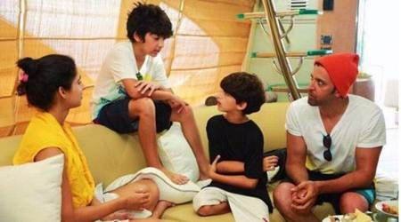 Hrithik Roshan is like a 'deer caught in the headlights' after his sons Hrehaan and Hredaan trick him, see photo