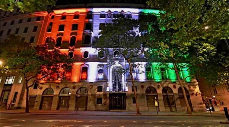 indian high commission, india house london, tricolour lights, indian express