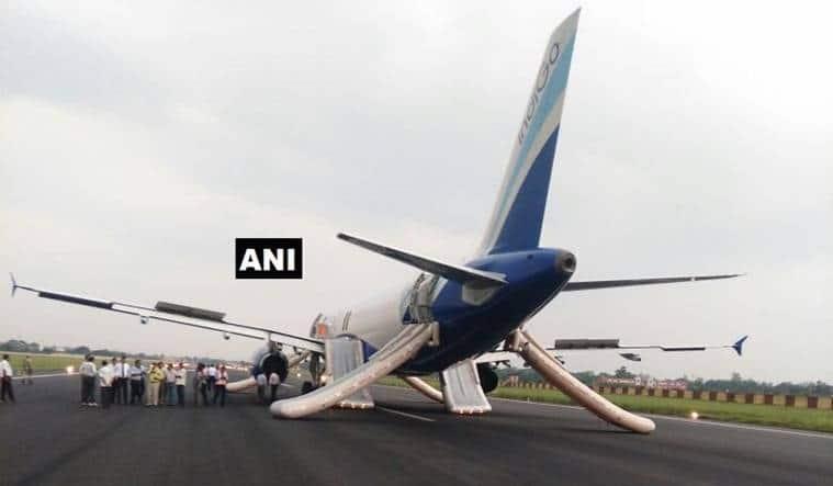 indigo plane tyre burst, indigo flight tyre burst, patna airport, new delhi-patnaflight, indigo flight smoke, bihar news, indian express