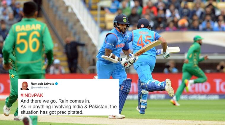 india versus pakistan, ind vs pak, rain stops play, icc champions trophy