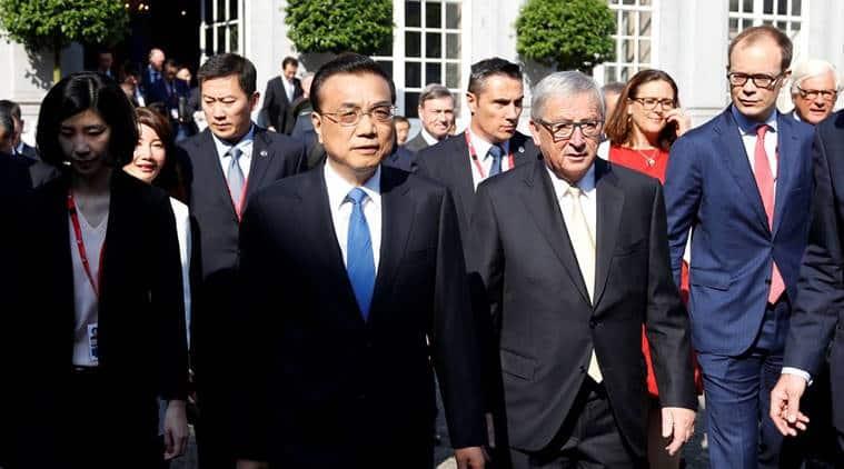 jean claude juncker, li keqiang, china summit brussels, chinese premier, eu chief, indian express