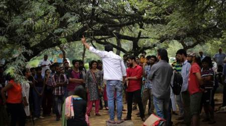 JNU Students Association members hold protest against dhabas closing at night
