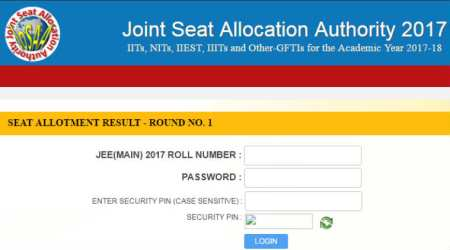 JoSAA 2017 first allotment result declared, check atjosaa.nic.in