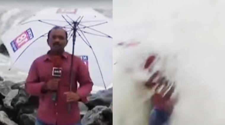 kerala reporter hit by sea wave, sea hits reporter video viral, sea wave hits journalist video viral, kerala reporter hit by sea waves, indian express, indian express news, viral, kerala viral news