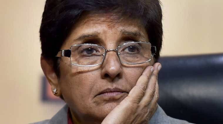 Kiran bedi, Kiran Bedi poster, Kiran Bedi hitler poster, Lieutenant Governor of Puducherry, Lt Governor Puducherry, Congress, BJP, Indian Express news