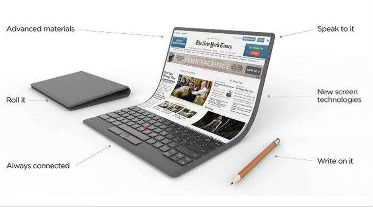 Lenovo ThinkPad concept, Lenovo bendable laptop concept, Lenovo laptop with flexible screen, Lenovo laptop with flexible display