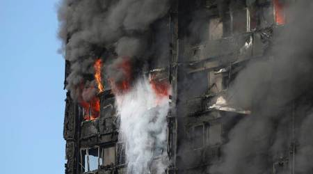 Image result for London fire: Firefighters struggle to douse blaze,