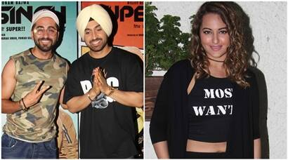 Super Singh actor Diljit Dosanjh was all smiles at the screening, Sonakshi Sinha and Ayushmann Khurrana also attend