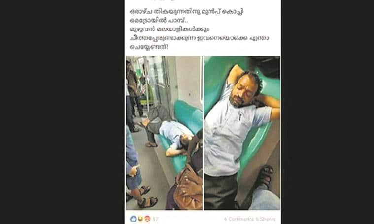kochi metro, drunken man on kochi metro, eldo, hearing impaired, slept on metro, pinarayi vijayan, india news, indian express