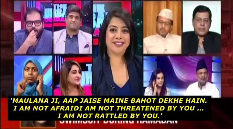 anchor shuts down maulana asking her to underwear, maulana asks anchor to wear underwear to be equal to men, maulana sexist remark to faye dsouza backfires, maulana asks mirror now anchor to wear underwear, indian express, indian express news