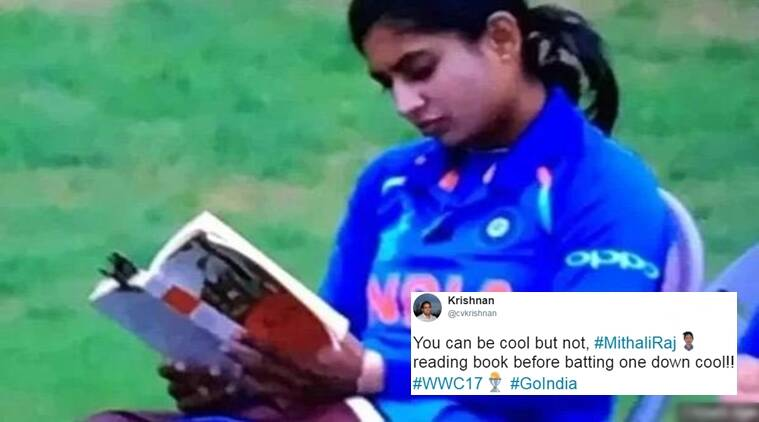ICC women's world cup 2017, indian women cricket team, mithali raj, mithali raj reading a book, indian express, indian express news
