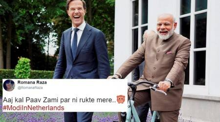 pm modi, modi in netherlands, pm modi in netherlands, pm modi cycle in netherlands, modi cycle, pm modi dutch pm, indian express, indian express news