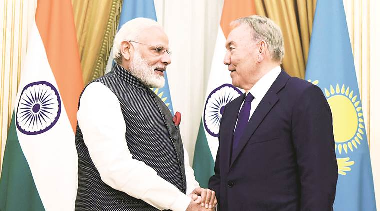 Shanghai Cooperation Organisation, SCO reception, Narendra Modi, Xi Jinping, Modi Sharif meeting, Modi in Astana, indian express news