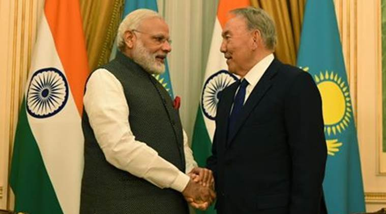 PM Narendra Modi calls on President of Kazakhstan Nursultan Nazarbayev in Astana. PIB