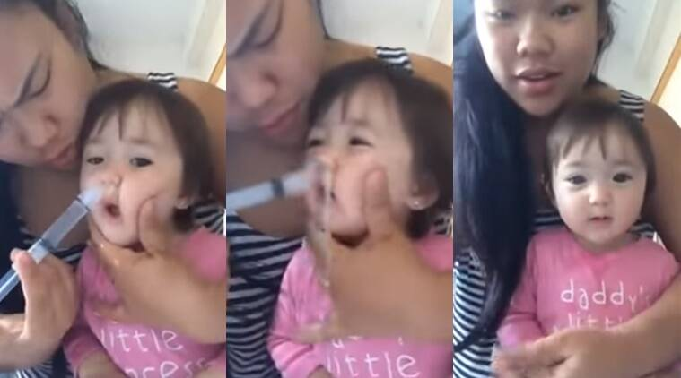 mom and daughter videos, mom cleaning blocked nose, mom and daughter neti kriya videos, weird videos, Indian express, Indian express news