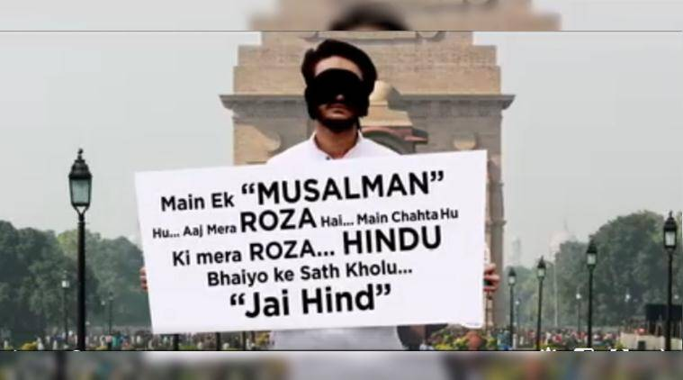 muslim, ramzan, ramadan, muslim man hug, blindfolded muslim man seek hug, india muslim man want hug, muslim hug social experiment, india news, indian express, viral videos, trending videos,
