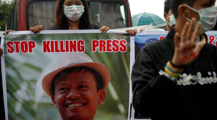 Myanmar journalist protest, myanmar journalists arrest, myanmar freedom of press, myanmar journalist demonstrations against police, world news, indian express news