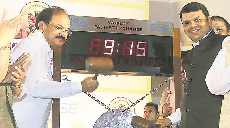 venkaiah naidu, devendra fadnavis, pmc, pune municipal corp, bombay stock exchange, pmc bond, urban infrastructure, maharashtra, indian express